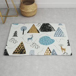 Vintage christmas winter mountain landscape, reindeer and forest hand drawn illustration pattern. Scandinavian style christmas woodland background Rug
