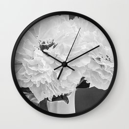 Peony Drama ~ B&W Accented Edges Wall Clock