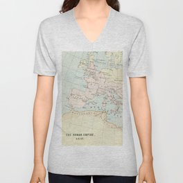Vintage Map Of The Roman Empire Unisex V-Neck