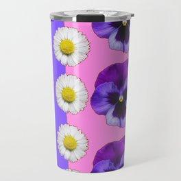 PINK-LILAC & PURPLE PANSY DAISY SPRING FLOWERS Travel Mug