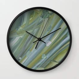 Green coloured abstract acrylic painting Wall Clock