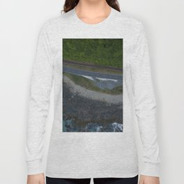 kaikoura coastline vertical view by drone camper serpentines Long Sleeve T-shirt
