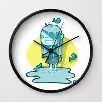 aquarius Wall Clocks featuring Aquarius by Chiara Zava