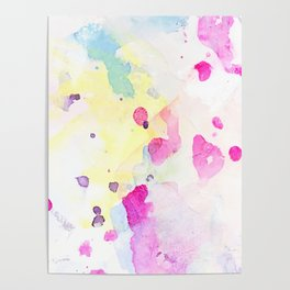 Dream in a dream_Pink watercolor abstract drawing Poster