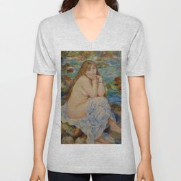 "Auguste Renoir ""Seated bather"" Unisex V-Neck"
