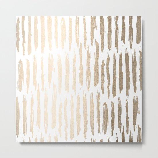 White Gold Sands Vertical Dash Metal Print