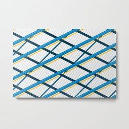 Deco Stripes Blue Metal Print