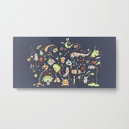 Doodle Bots by dana alfonso Metal Print