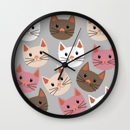 Cute Cat Faces Wall Clock