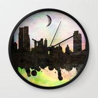 new york Wall Clocks featuring new York  new York  by mark ashkenazi