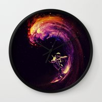 motivational Wall Clocks featuring Space Surfing by nicebleed