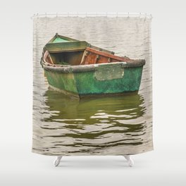 Lonely Old Fishing Boat at Santa Lucia River in Montevideo, Uruguay Shower Curtain