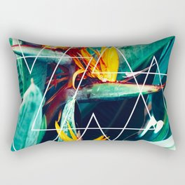Modern white geometric triangle tropical bird of paradise photography Rectangular Pillow
