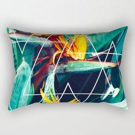 Modern white geometric triangle tropical bird of paradise photography Rectangular Pillow