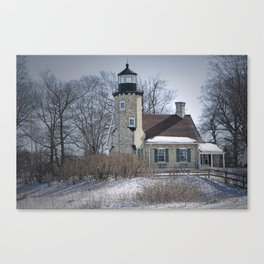 Lighthouse during Winter in Whitehall Michigan Canvas Print