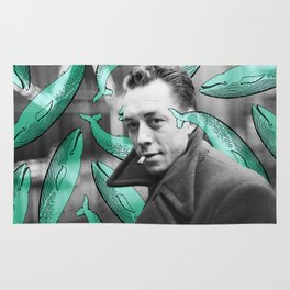 Albert Camus with calm whales Rug