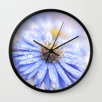 biology Wall Clocks featuring Blue Aster in LOVE  by UtArt