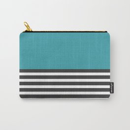 Half Striped Gray - Solid Turquoise Carry-All Pouch