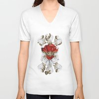 roman V-neck T-shirts featuring Roman Marble by Eleaxart
