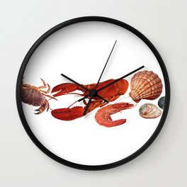 seafood shell scallop lobster shrimps white Wall Clock