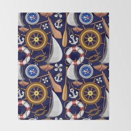 Nautical Marine and Navy Equipment Pattern Throw Blanket