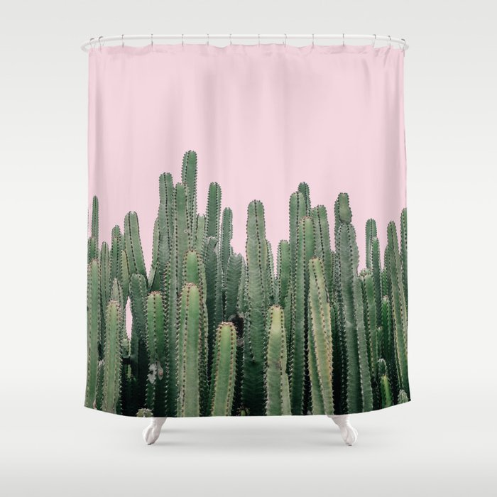 Pink Sky Cactus Shower Curtain