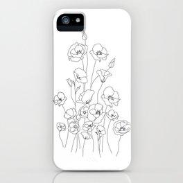 Poppy Flowers Line Art iPhone Case