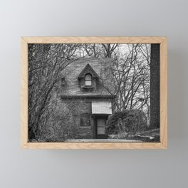 The Carriage House In Black And White Framed Mini Art Print