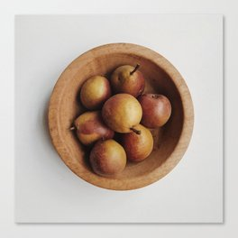 Wooden Bowl with Pears Canvas Print