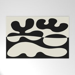 Mid Century Modern Organic Abstraction 235 Black and Linen Welcome Mat