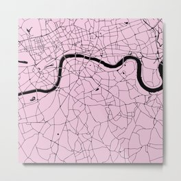 London Pink on Black Street Map Metal Print