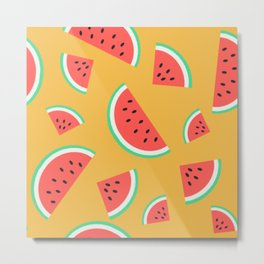 Watermelon Summer Pattern - orange Metal Print