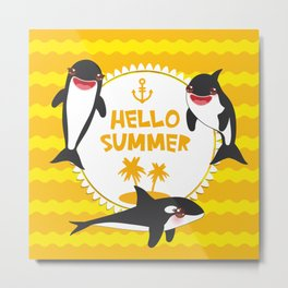 Hello Summer, Kawaii orca Metal Print