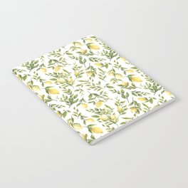 Bright Yellow Watercolor Lemons and Leaves Notebook