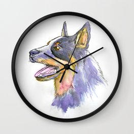Hand Rendered Dog Wall Clock
