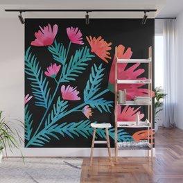 Dark Tropical Floral Wall Mural