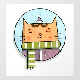 Cat and Scarf Art Print