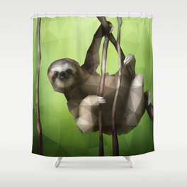 Sloth (Low Poly Lime) Shower Curtain