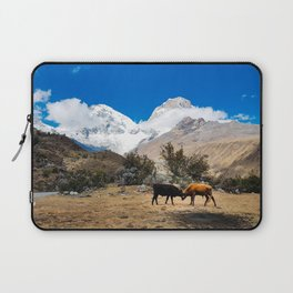 Bull fight in Huascaran National Park. Laptop Sleeve