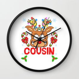 Cousin Crew Reindeer Xmas Relative Rudolph Red-nosed Reindeer Christmas Family T-shirt Design Wall Clock
