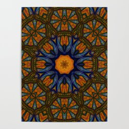 Blue and Yellow Kaleidoscope Medieval Poster