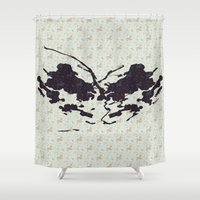 rorschach Shower Curtains featuring Rose Rorschach by Laps