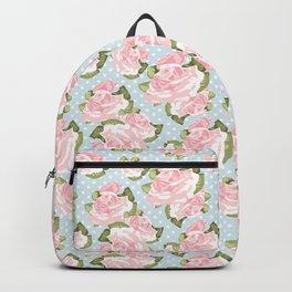 Pink Roses on Blue Polka Dots Backpack