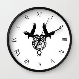 Raven - Triple Horn of Odin Wall Clock
