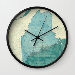 Maine State Map Blue Vintage Wall Clock