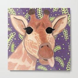 Giraffe and Acacia Leaves Metal Print