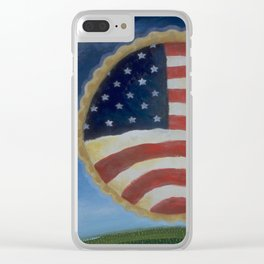 American Pie in the Sky Flag Folk Art Clear iPhone Case