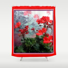 Red Geraniums Floral Red Abstract Shower Curtain