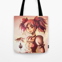 madoka Tote Bags featuring Madoka by Schewy