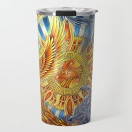 Chinese Phoenix and Dragon Mandala Travel Mug